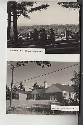 2 Views Real Photo Postcard Cathedral of Pines & Memorial School Ringe NH