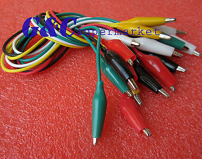 10pcs 50cm Double-ended Crocodile Clips Cable Alligator Clips testing wire M62