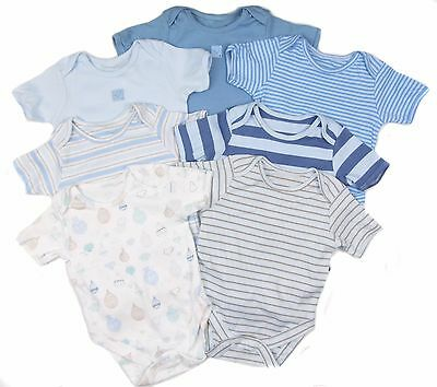 Baby Boys Bodysuits Vests Popper Fastening 7 Pk and Five Pack 0-3M To 12-18M