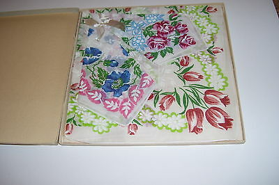 Beautiful BOXED Set of Floral Handkerchiefs-Vintage-Never used-New Old Stock