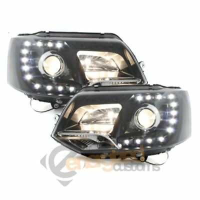 Vw Transporter T5.1 Gp 2010-2014 Black Drl Devil Eyes Headlights Pair