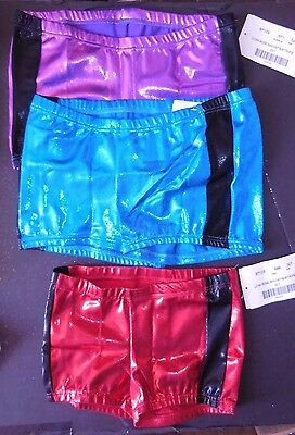NEW BOOTY SHORTS FOIL METALLIC Child Adlt 5 Color Choices JAZZ DANCE CHEER SKATE