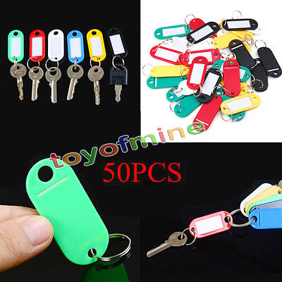 50X Plastic Luggage ID Tags Label Suitcase Bag Keychain Key Fobs Ring Name Card