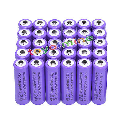 30AA 3000mAh Ni-MH rechargeable battery RC CAMERA MP3/Cell purple