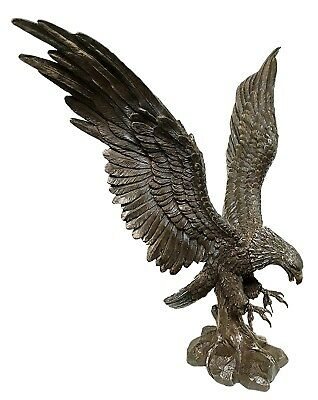 "Large Swooping Grand Bald Eagle Descending on Prey Statue 17.25""H Decor Figurine"