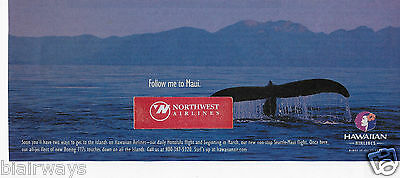Hawaiian Airlines Follow Me To Maui 767 Daily Service Seattle Whale Tale 2002 Ad