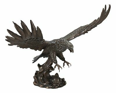 Large Swooping Bald Eagle With Talons Out Catching Prey Statue Decor Sculpture