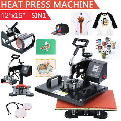 5 in 1 Heat Press Machine Swing Away Transfer T-Shirt Sublimation Mug Hat Plate