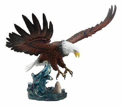 "Large Swooping Bald Eagle Catching Fish Statue 19""Long Wildlife Decor Figurine"