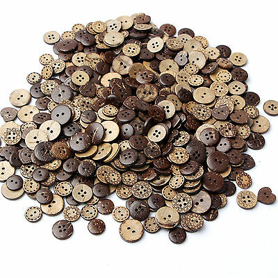 100pcs/lot Brown Coconut Shell 4 Holes Buttons fit Sewing Scrapbooking 15mm