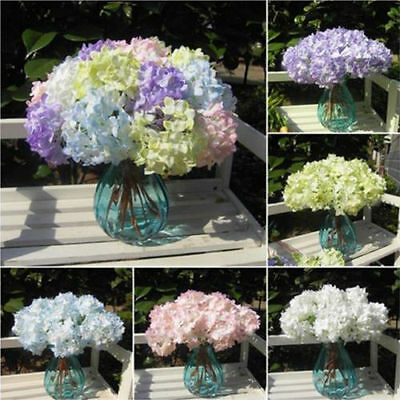 Wedding Bridal Party Home Decor Artificial Hydrangea Bouquet Silk Flowers Leaf
