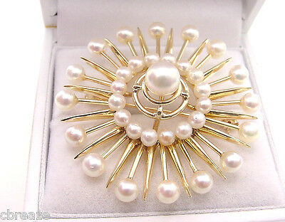 Large Starburst 33 Cultured Saltwater Pearls 14K Gold Estate Vintage Brooch Pin