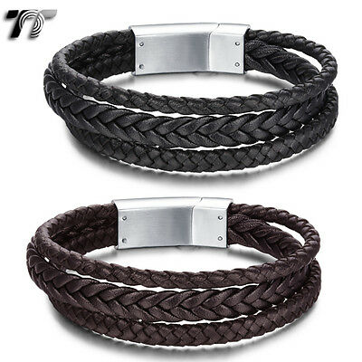 Quality TT Genuine Leather Tri-Row 316L Stainless Steel Bracelet Wriband (BR170)