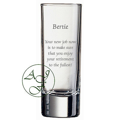 Personalised Engraved 60ml Shot Glass Retirement Gift