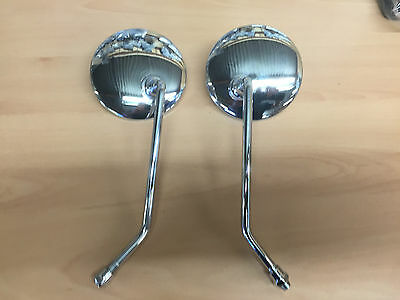 Motorcycle Scooter  Pair of Chrome Round  Mirrors 10mm Thread Round Silver