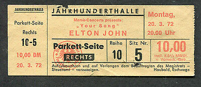 1972 Elton John Concert Ticket Stub Germany Madman Across Water Honky Chateau