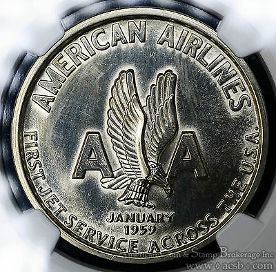 1959 So Called Dollar American Airlines Jet MS63 NGC HK#538 R4 38mm.