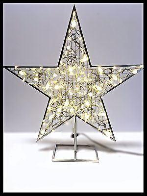 36'' Silver Standing Star with LED Strobe Lights - LED Twinkle and Steady Lights