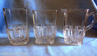 3 Pc Set of Spooner, Sugar and Cream Pitcher in 1891 Richmond Pattern US Glass