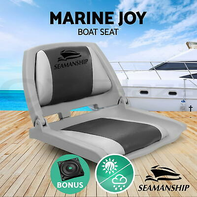 Premium Boat Seats Folding & Swivel  Marine All Weather Grey Charcoal Set