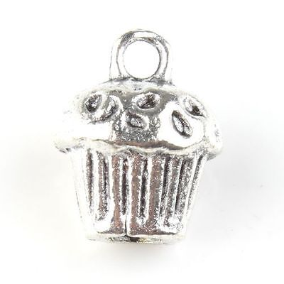100pcs 143073 Wholesale Vintage Silvery Cute Cupcake Alloy Pendant Findings