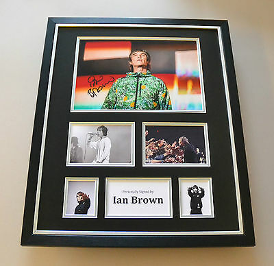 Ian Brown Signed Photo Large Framed Stone Roses Autograph Display Memorabilia