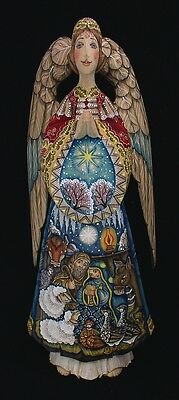 ANGEL HAND CARVED & PAINTED with NATIVITY SCENE #0952