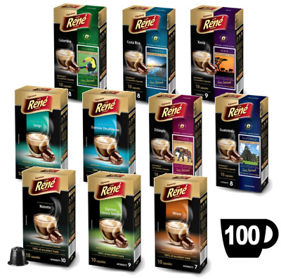 100x Nespresso Compatible Coffee Capsules Pods featuring 10 Great Tasting Blends