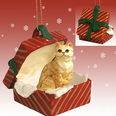 Red Tabby Shorthair CAT RED Gift Box Holiday Christmas ORNAMENT