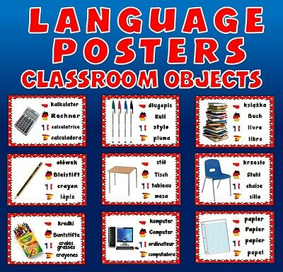 Cd Classroom Objects Language Posters Teaching Resources Spanish French Polish +
