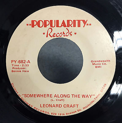 "Leonard Craft Somewhere Along The Way / Angel On My Mind 7"" VG+ Private Country"