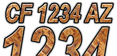 WOOD PLANK Custom Boat Registration Numbers Decals Vinyl Lettering Stickers USCG
