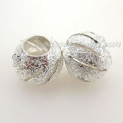 30x  New Silver Tone Stardust Spacer European Bead 110435