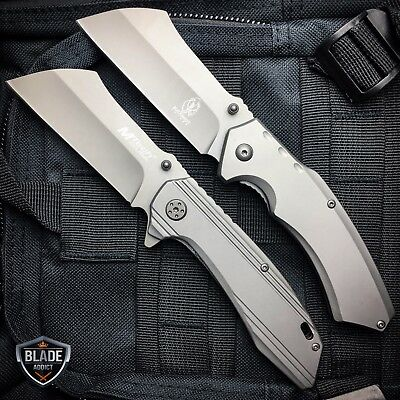 2PC TACTICAL Spring Assisted Open Pocket Knife CLEAVER RAZOR FOLDING Blade GRAY