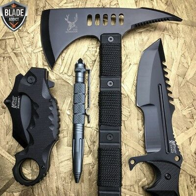 4 PC Black Tactical Hunting Combat FIXED BLADE SURVIVAL CAMPING KNIFE Set