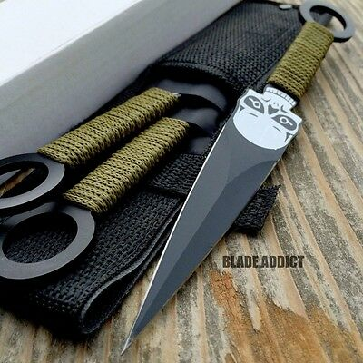 "3 Pc 8"" Zombie Killer Ninja Tactical Throwing Knife Set w/ Sheath Combat Kunai"