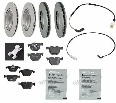 For BMW E93 E92 335d 07-13 Front & Rear Pads Rotors Sensors Squeal Paste OEM