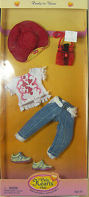 """ONLY HEARTS CLUB OUTFIT JEANS HEART SHIRT HAT PURSE SHOES for 9"""" DOLL NEW 00207"""
