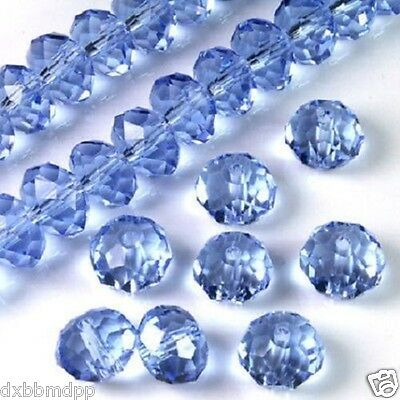 70pcs Light Blue Faceted Austria Crystal Gemstone Loose Beads 6x8mm