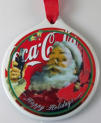 Coca Cola CHRISTMAS ORNAMENT Sundblom Santa Happy Holidays Round in Box 3""