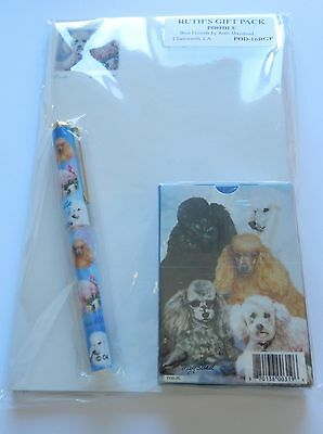 Ruth Maystead Gift Pack playing cards, pen, note pad, Poodle-dogs