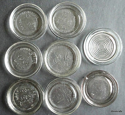 "Canning Jar Clear Glass Lid x 8 Dominion Canada Crown 2.75"" Vintage Coaster"