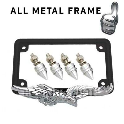 Chrome Spike & 3D Eagle Motorcycle License Plate Frame - Live To Ride