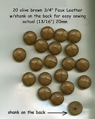 """20 Faux Leather Buttons Olive BROWN 3/4"""" 20mm with shank"""