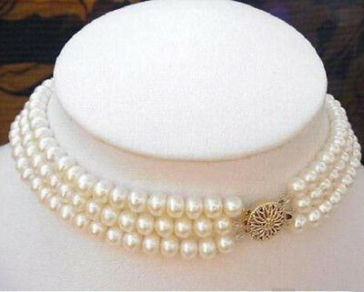 """Fashion 3Rows 7-8MM Natural White Akoya Cultured Pearl Choker Necklace 16-18"""""""
