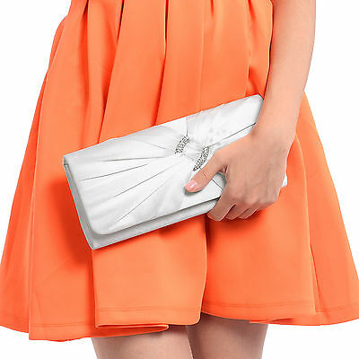 Ivory White Satin Diamante Pleated Evening Clutch Bag Bridal Wedding Party Prom
