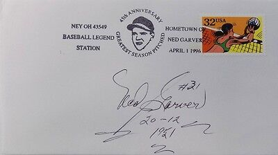 Ned Garver St. Louis Browns Signed First Day Cover 20-12 1951 Insc.