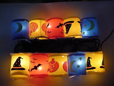 Vintage Halloween 10 Eerie Descents Cylinder Shapes String Lights In Box Look