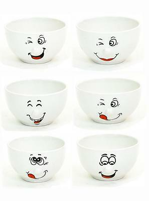 White Smiley Design Ceramic 14cm Salad Cereal Soup Bowl in Choice of Deals