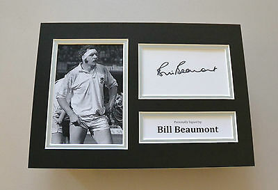 Bill Beaumont Signed A4 Photo Autograph Display England Rugby Memorabilia + COA